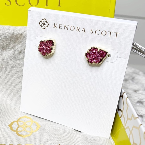 Kendra Scott Tessa Stud Earrings Fuchsia Drusy